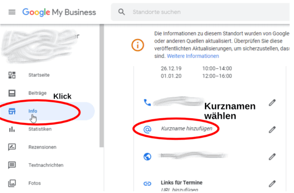 Google Bewertungen Business Kurzname