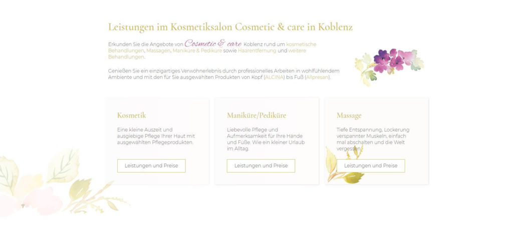 Webdesign Koblenz Kosmetikstudio
