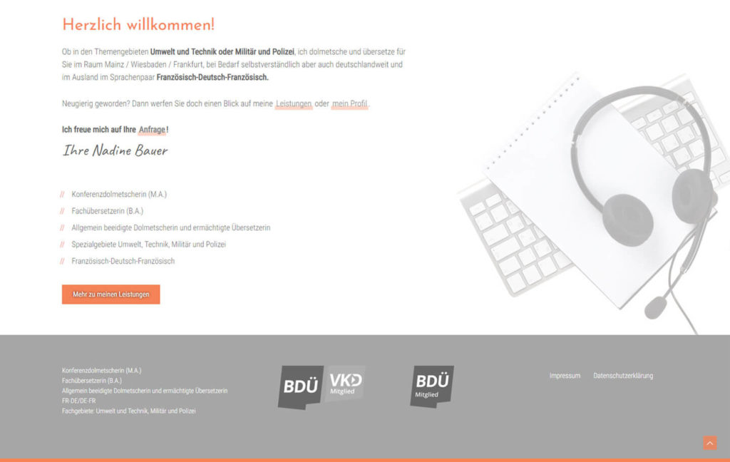 Webdesign Wordpress Dolmetscherin