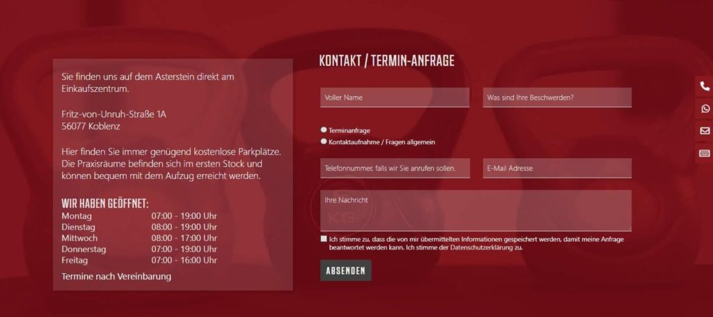 WordPress Webdesign Physiotherapie Praxis Koblenz Terminformular