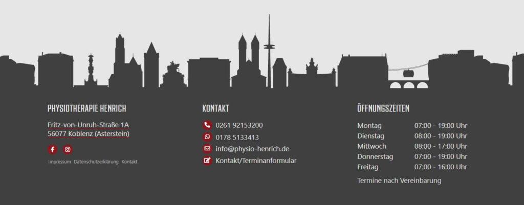 WordPress Webdesign Physiotherapie Praxis Koblenz Footer Details