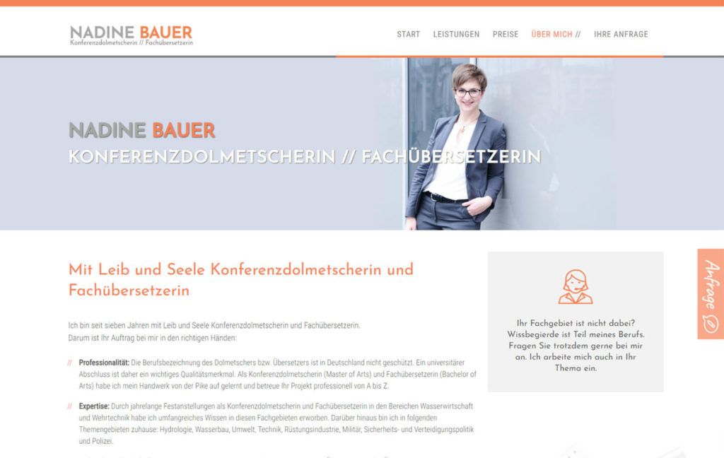 Wordpress Website Nadine Bauer