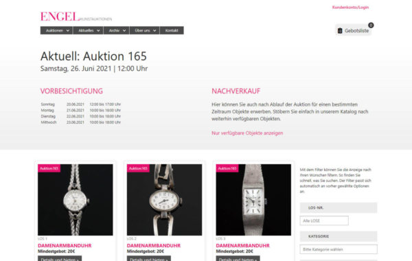 webdesign koblenz referenz auktionshaus engel katalog